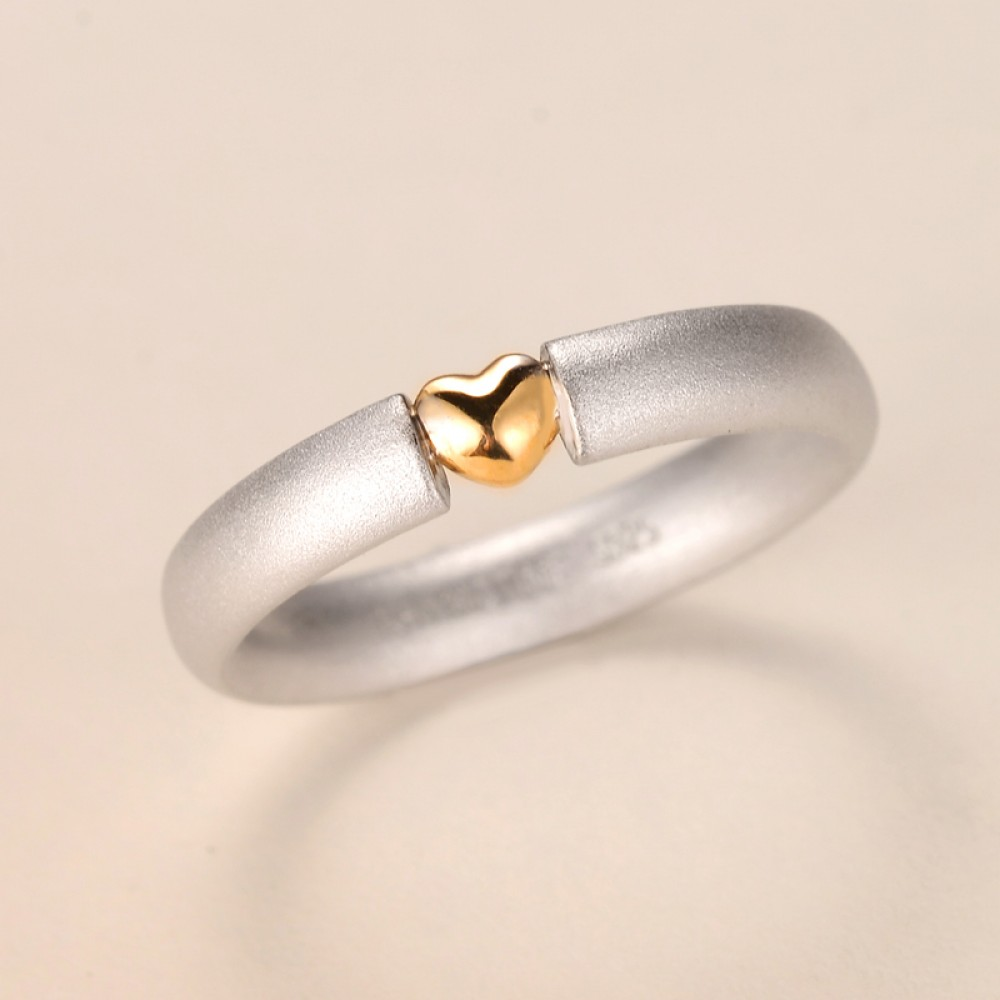 It is just an image of Engravable 48K Gold Heart Couples Wedding Bands