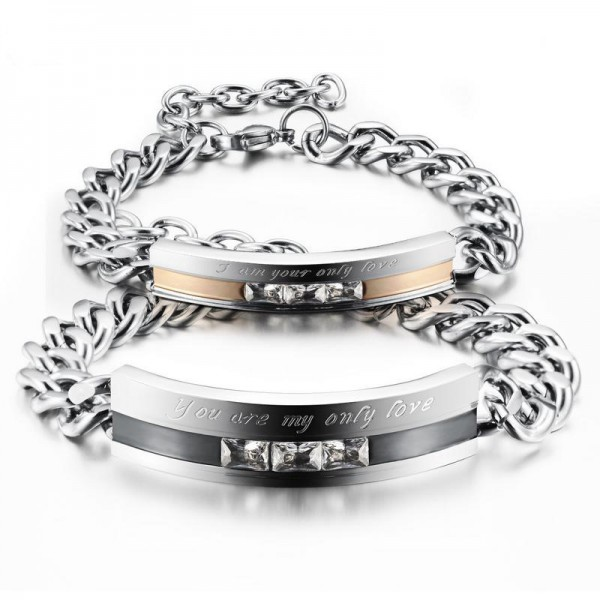 Personalized You Are My Only Love Titanium Steel CZ Inlaid Couple Bracelets