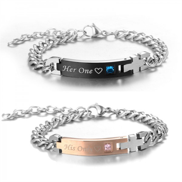 Personalized His Only Her One Titanium Matching Bracelets For Couple