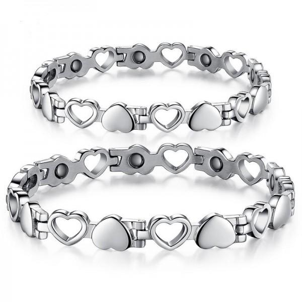 Personalized Titanium Adjustable Heart Shape Magnetic Couples Bracelets