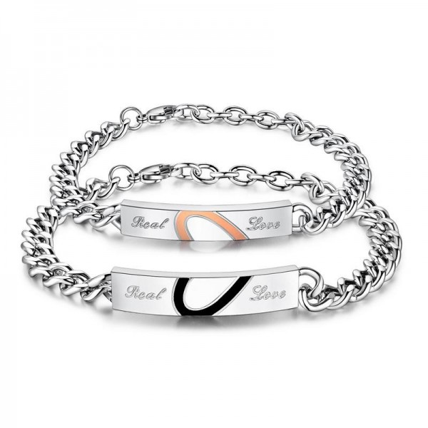 Engravable Titanium Real Love Matching Heart Couple Bracelets
