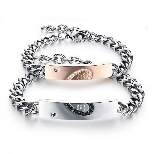 Engravable Rose And Black Titanium Matching Heart Couples Bracelet