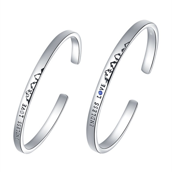 Adjustable Endless Love Bracelets For Couples In Sterling Silver