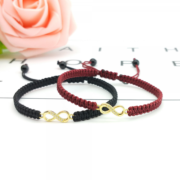 Adjustable Yellow Gold Plated Infinity Charm Rope Bracelets For Couples