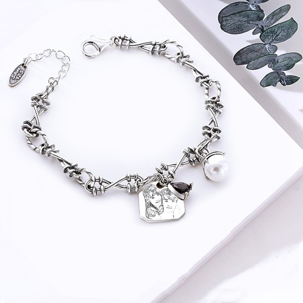 Infinity Love Custom Photo Engraved Charm Bracelet In Silver