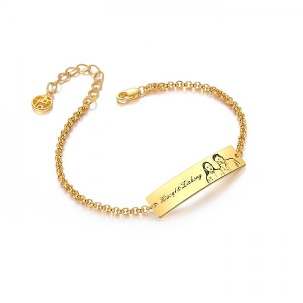 Personalized Custom Photo Engraved Bar Bracelet In Silver