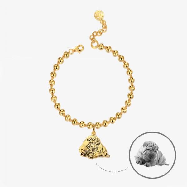 Women's Custom Pet Photo Engraved Charm Bracelet In Silver