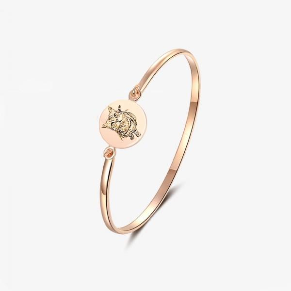 Women's Custom Pet Photo Engraved Bangles Bracelet In Silver