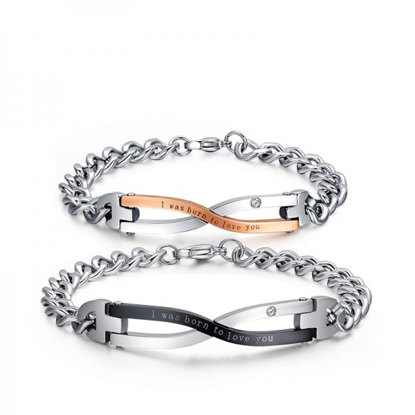 I Was Born To Love You Matching Infinity Bracelets For Couples In Titanium