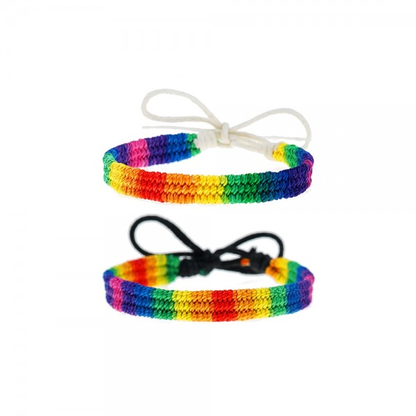 Matching Rainbow Bracelets For Couples In Rope