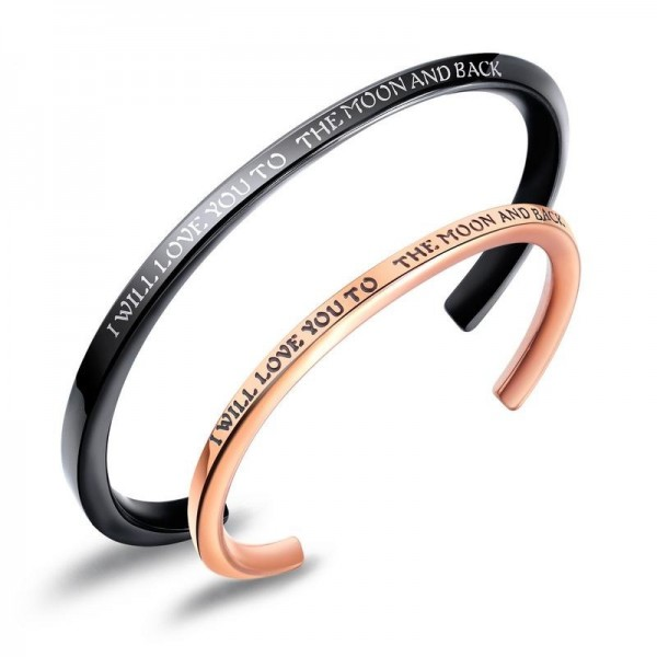 I Will Love You To The Moon And Back Matching Bangles For Couples In Titanium
