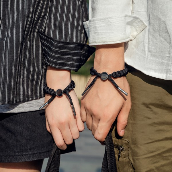 Engravable Simple Bracelets For Couples In Titanium And Rope