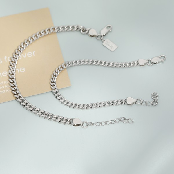 Simple Chain Bracelets For Couples In Sterling Silver