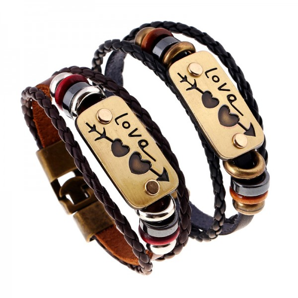 Personalized Cupid's Arrow Cowhide Bracelets For Couples
