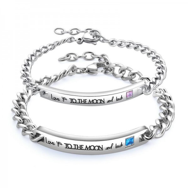 Engravable Love You To The Moon And Back Bracelets For Couples In Titanium