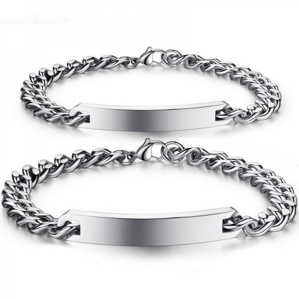 Simple Front Engraving Bracelets For Couples In Titanium