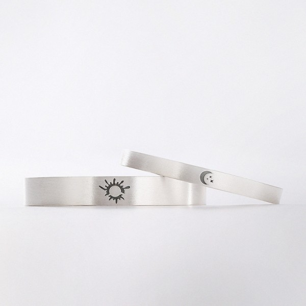 Adjustable Sun And Moon Matching Bangles Set For Couples In Sterling Silver