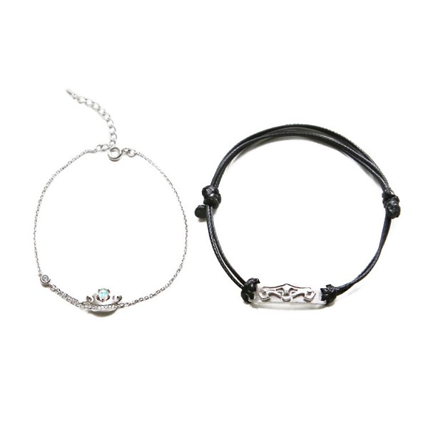 Personalized Princess And Knight Matching Bracelets For Couples In Sterling Silver