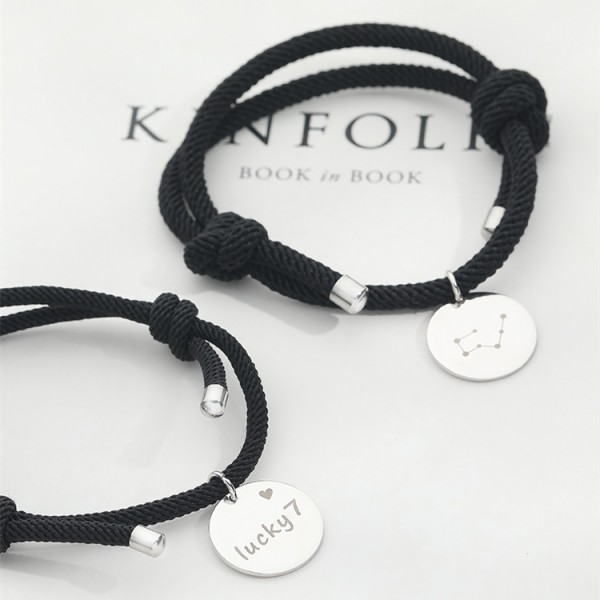 Engravable Simple Charm Bracelets For Couples In Sterling Silver