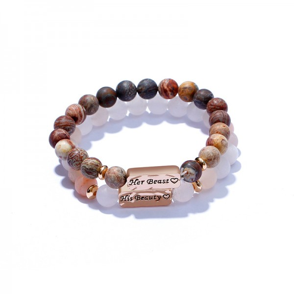 Personalized His Beauty Her Beast Beaded Bracelets For Couples