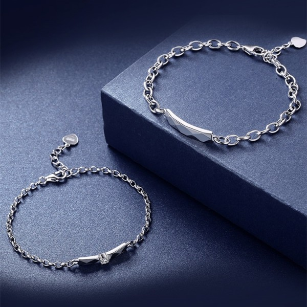 Engravable Sweet Love Matching Bracelets For Couples In Sterling Silver