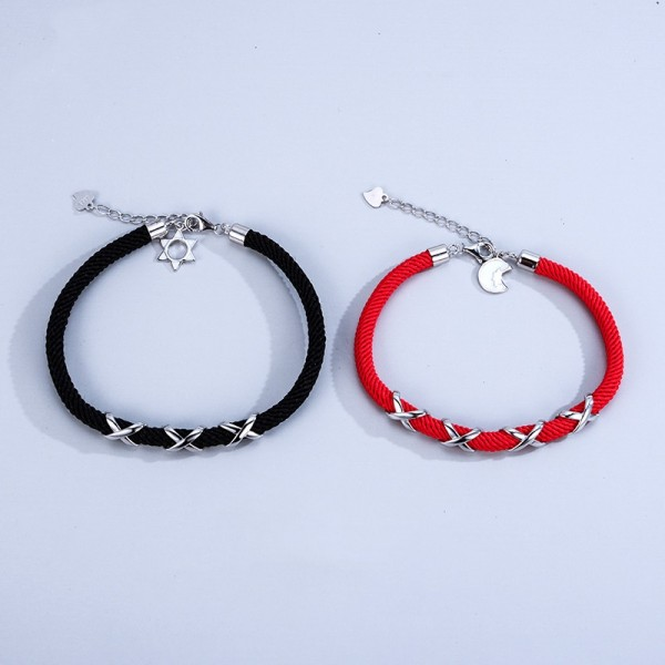 Personalized Sun And Moon Matching Knot Bracelets In Sterling Silver