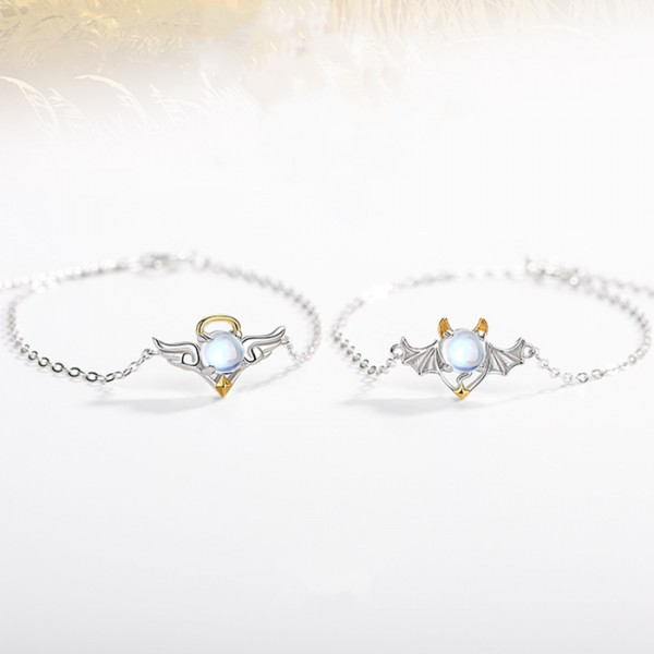 Personalized Angel And Demon Matching Bracelets In Sterling Silver
