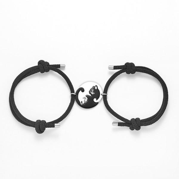 Engravable Matching Cat Couple Bracelets In Titanium