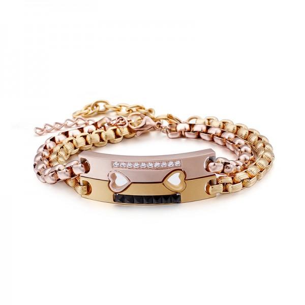 Engravable Matching Heart Couple Bracelets In Titanium