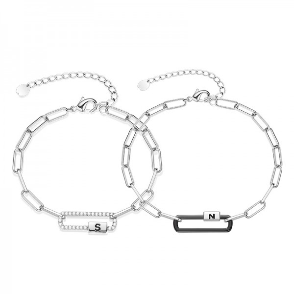 Personalized South And North Matching Couple Bracelets