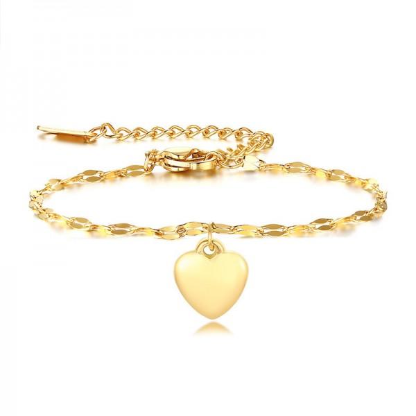 Engravable Yellow Heart Charm Bracelet For Womens In Titanium