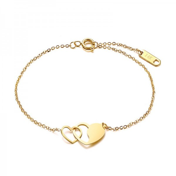 Engravable Yellow Heart In Heart Charm Bracelet For Womens In Titanium