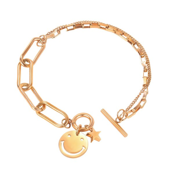 Simple Rose Smiley Chain Bracelet For Womens In Titanium
