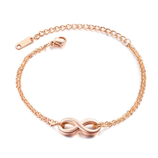 Simple Rose Infinity Charm Bracelet For Womens In Titanium