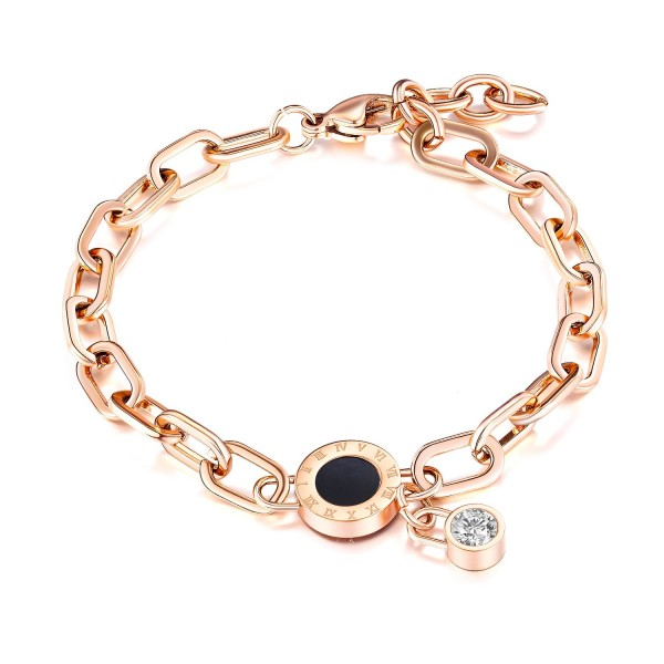 Cute Rose Chain Bracelet For Womens In Titanium And Cubic Zirconia
