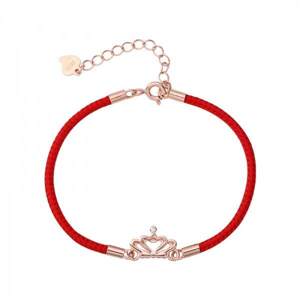 Unique Rose Crown Charm Bracelet For Womens In Sterling Silver And Rope