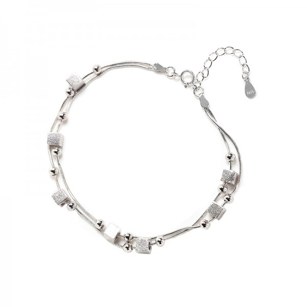 Cute Sugar Cube Charm Bracelet For Womens In Sterling Silver