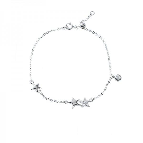 Cute Shining Stars Bracelet For Womens In Sterling Silver