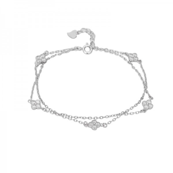 Unique Four Leaf Clover Charm Bracelet For Womens In Sterling Silver