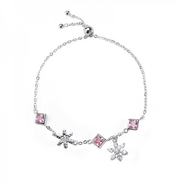 Unique Snowflake Charm Bracelet For Womens In Sterling Silver