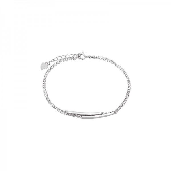 Engravable Swing Charm Bracelet For Womens In Sterling Silver And Cubic Zirconia