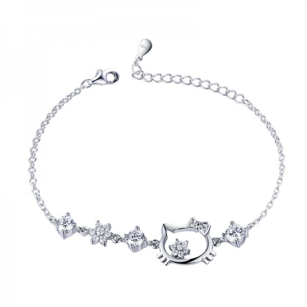 Cute Snowflake Cat Charm Bracelet For Womens In Sterling Silver And Cubic Zirconia