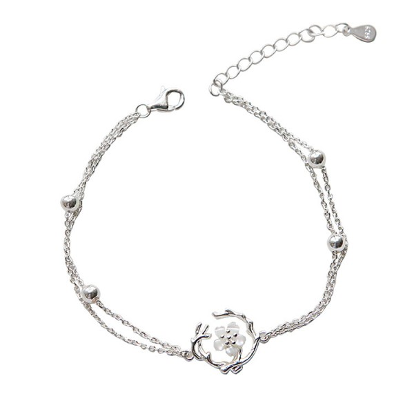 Personalized Cherry Blossom Charm Bracelet For Womens In Sterling Silver