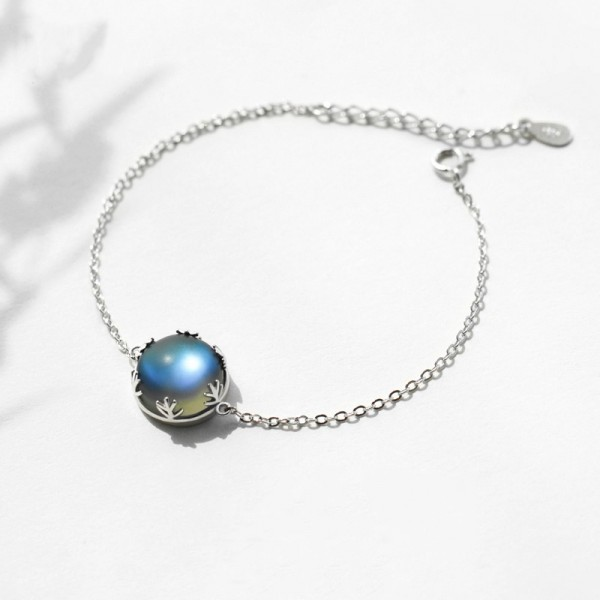 Unique Aurora Forest Charm Bracelet For Womens In Sterling Silver And Moonstone