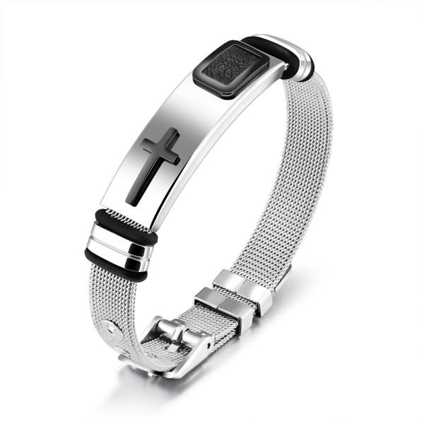 Engravable Cross Belt Bracelet For Men In Titanium
