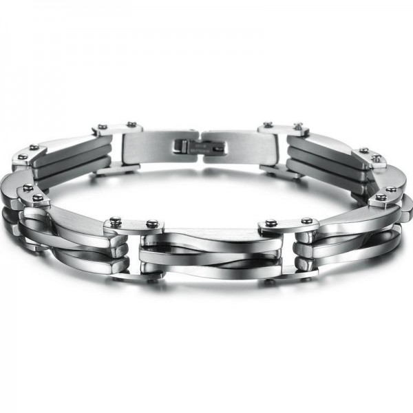 Engravable Silver Bike Chain Bracelet For Men In Titanium