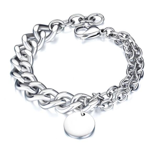 Engravable Simple Silver Chain Bracelet For Men In Titanium