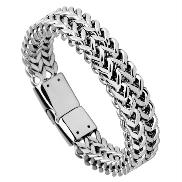 Personalized Double Chain Bracelet For Men In Titanium