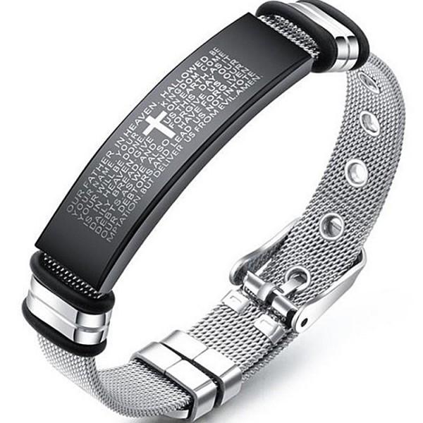 Engravable Lord's Prayer Belt Bracelet For Men In Titanium