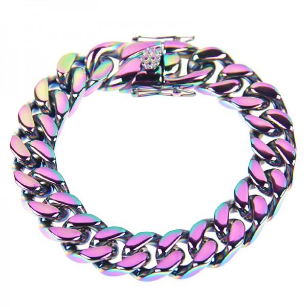 Unique Rainbow Cuban Link Bracelet For Men In Titanium